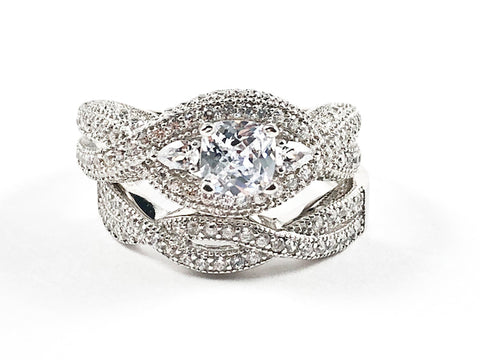 Elegant Classic 2 Piece Set Engagement Style Crossover Design Textured Silver Ring