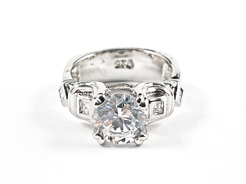 Elegant Classic CZ Engagement Style Design With Unique CZ Settings Sides Silver Ring