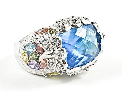 Beautiful Rectangle Shape Aquamarine Center CZ With Multi Color Mosaic Detailed CZ Silver Ring