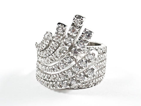 Beautiful Elegant Rising Wave Design Shape Form CZ Silver Ring