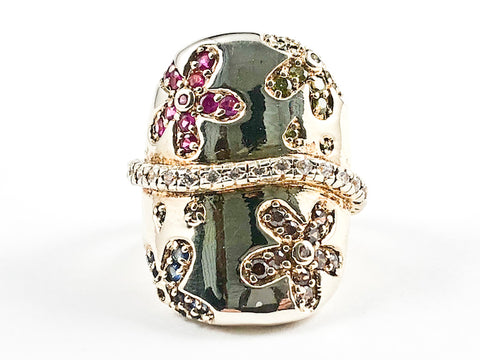Beautiful Large Shiny Metallic Material With Color Floral CZ Design Element Gold Tone Silver Ring