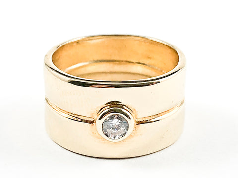 Elegant Shiny Metallic With Small Center CZ Gold Tone Silver Ring