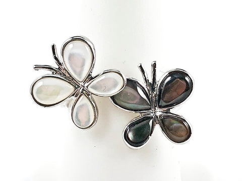 Cute Double Butterfly With White & Black Pearl Silver Ring