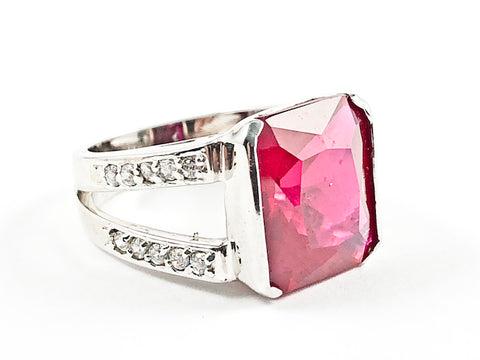 Elegant Classic Rectangle Cut Detailed Center Red CZ With Open Frame Band Style Silver Ring
