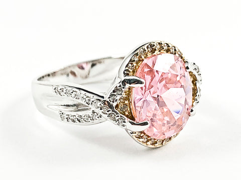 Elegant Center Oval Shape Pink CZ With Unique Twist Band & Setting Silver Ring