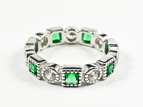 Elegant Beautiful Round & Green Square CZ Eternity Silver Band Ring