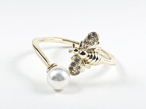 Cute Dainty Bee & Pearl Duo Wrap Style Gold Tone Silver Ring