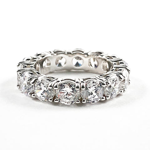 Elegant Round Cut CZ Eternity Silver Ring