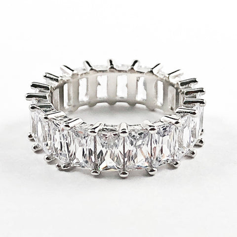 Elegant Fine Sharp Rectangle Cut CZ Eternity Silver Ring