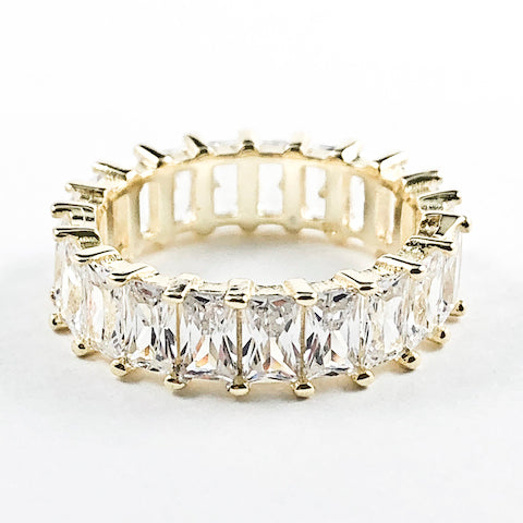 Elegant Fine Sharp Rectangle Cut CZ Gold Tone Eternity Silver Ring