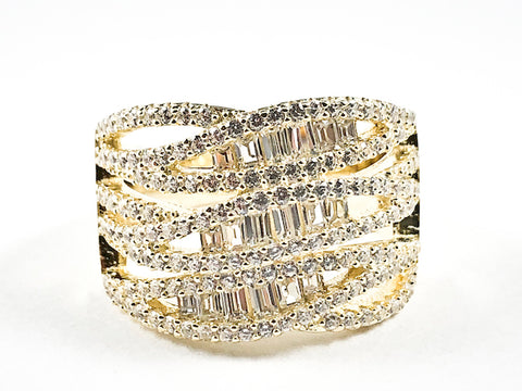 Beautiful Fine Multi Row Baguette CZ Crossover Style Design Gold Tone Silver Ring