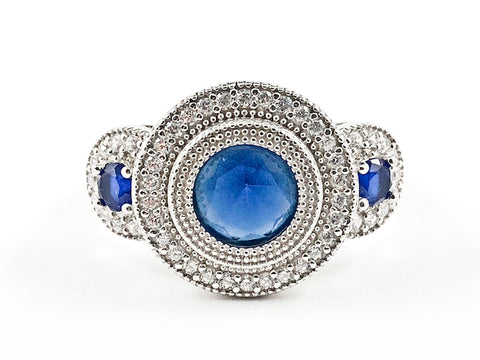 Beautiful Elegant Round Shape Sides & Center Sapphire CZ Trillion Style Design Silver Ring