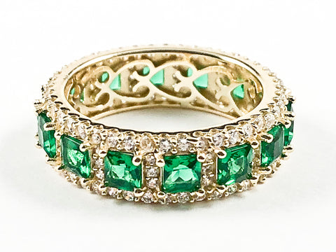 Elegant Vintage Green CZ Gold Tone Eternity Silver Band Ring