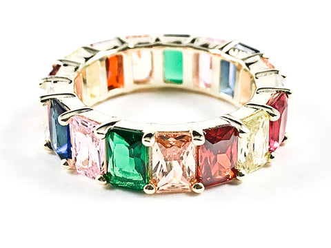 Beautiful Classic Large Rectangular Shape Multi Color CZ Gold Tone Eternity Silver Ring