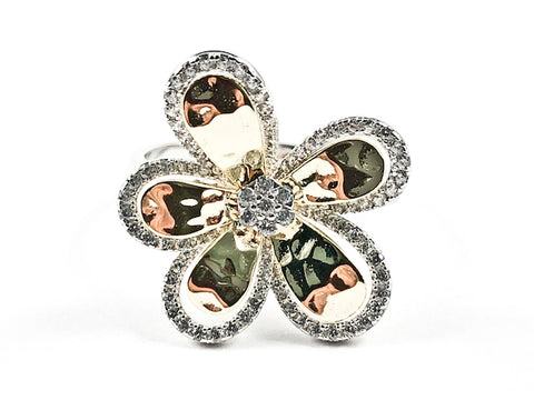 Beautiful Unique Two Tone Flower Shape Shiny Metallic & CZ Silver Ring