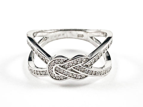 Elegant Unique X Cross With Middle Knot Design Silver Ring