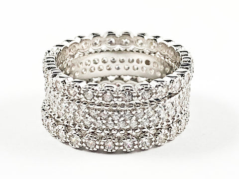 Elegant Mix Design Micro CZ Setting 3 Piece Set Eternity Silver Band Ring