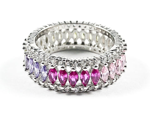 Elegant Multi Color Large Marquise Shape CZ Middle Row Eternity Silver Ring