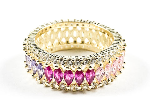 Elegant Multi Color Large Marquise Shape CZ Middle Row Eternity Gold Tone Silver Ring