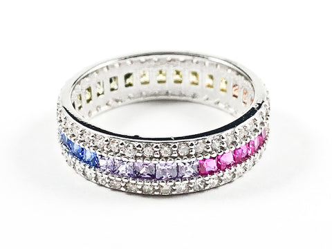 Elegant Multi Color CZ Center Row With Micro CZ Setting Eternity Silver Ring