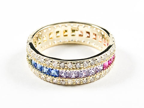 Elegant Multi Color CZ Center Row With Micro CZ Setting Eternity Gold Tone Silver Ring
