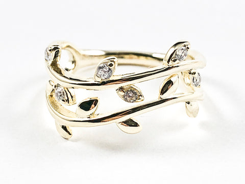 Elegant Cute Open Leaf Floral Shiny Metallic & CZ Gold Tone Silver Ring