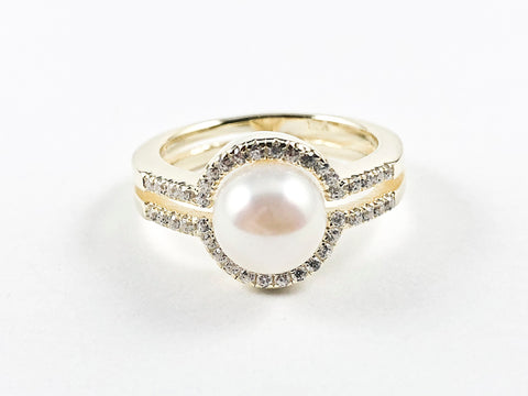 Classic Round Center Pearl With CZ Frame Two Layer Design Gold Tone Silver Ring