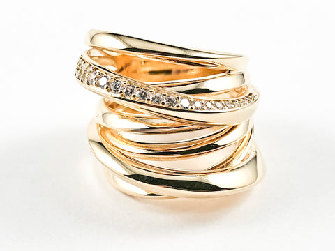 Elegant Unique Irregular Shape Multi Crossover Layered Design Gold Tone Silver Ring