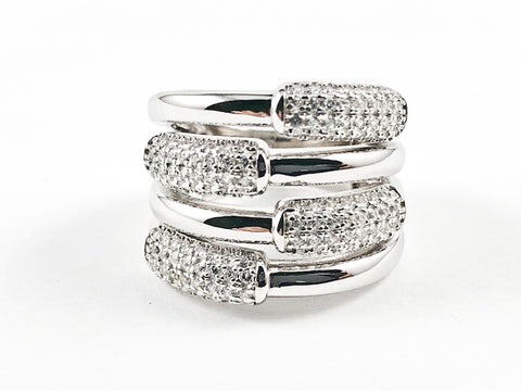 Beautiful Half Shiny Metallic Half Micro CZ Bar Design Pattern Thick Silver Ring