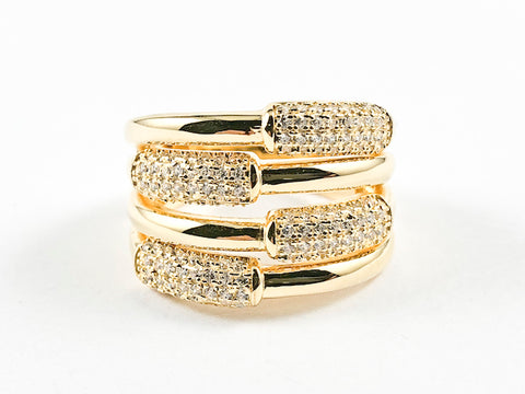 Beautiful Half Shiny Metallic Half Micro CZ Bar Design Pattern Thick Gold Tone Silver Ring