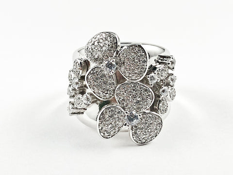 Elegant Unique Floral Burst Pave Style Design Silver Ring