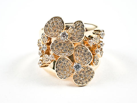 Elegant Unique Floral Burst Pave Style Design Gold Tone Silver Ring