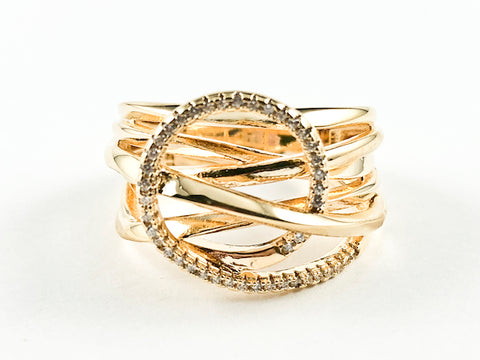 Elegant Multi Layer Crossover With Center CZ Circle Swirl Design Gold Tone Silver Ring