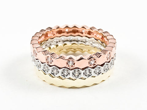 Elegant Set Of 3 Tri Tone Mix Design Eternity Silver Ring