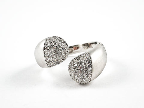 Elegant Open Pave CZ Duo Ends Wrap Design Matte Finish Silver Ring