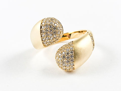Elegant Open Pave CZ Duo Ends Wrap Design Matte Finish Gold Tone Silver Ring