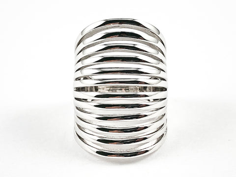 Elegant Long Elongated Multi Row & Layer Design Shiny Silver Ring