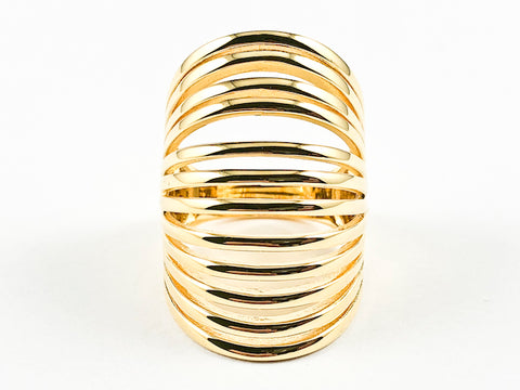 Elegant Long Elongated Multi Row & Layer Design Shiny Gold Tone Silver Ring