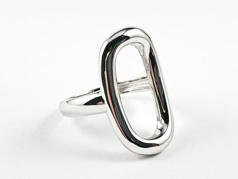 Elegant Open Oval Shape Solid Shiny Metallic Design Silver Ring