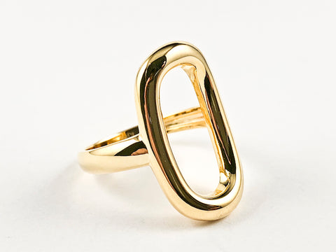 Elegant Open Oval Shape Solid Shiny Metallic Design Gold Tone Silver Ring