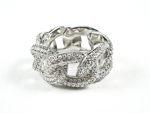 Elegant Chain Link Design Pave CZ Eternity Silver Band Ring