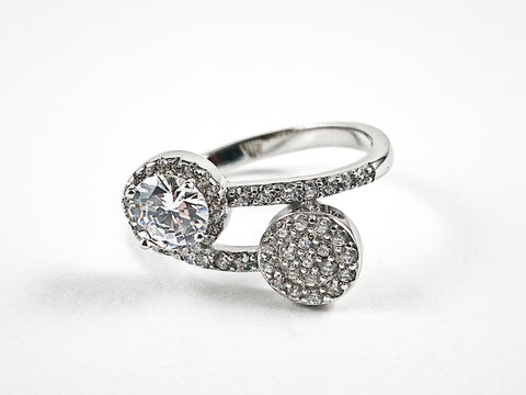 Elegant Duo Wrap Design Micro CZ Silver Ring