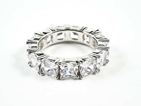 Beautiful CZ Cushion Eternity Silver Band Ring