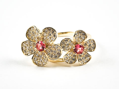 Elegant Cute Double Flower Micro CZ With Center Ruby Color CZ Gold Tone Silver Ring