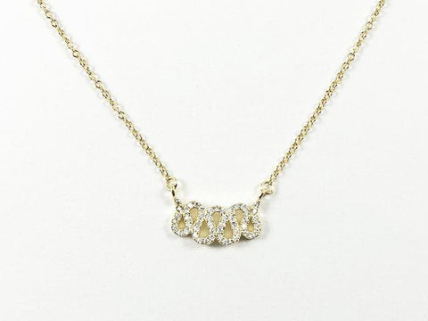 Cute Dainty Squiggly & Wavy Design Gold Tone Silver Necklace
