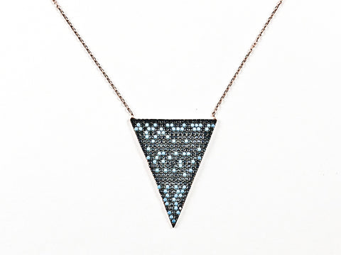 Modern Unique Colorful Pattern Triangular Shaped Silver Necklace