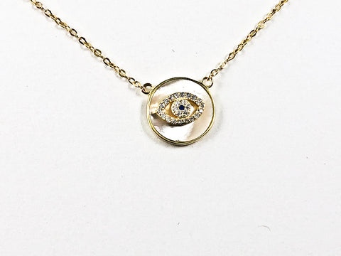 Nice Round Shape Evil Eye Round Mother Of Pearl Gold Tone CZ Silver Necklace