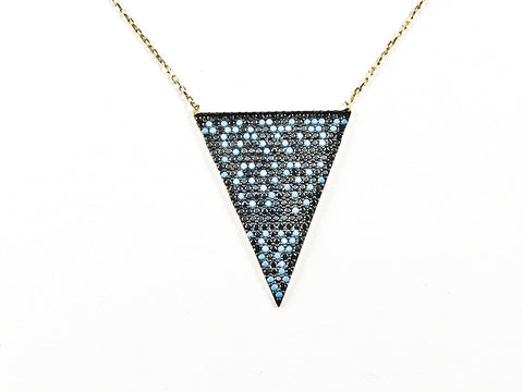 Unique Triangle Shape With Creative Pattern CZ Silver Necklace