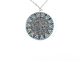 Unique Stardust Design Round Disc Micro CZ Stone Silver Necklace