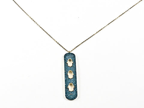 Unique Long Vertical Bar Triple Hamsa Hand Design Gold Tone Silver Necklace